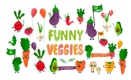 Vegetables cartoon bundle parade with banners