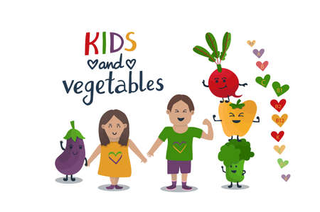 Little kids and veggies characters. Cute friendship illustration with boy, girl and vegetables - bell pepper, eggplant, broccoli, beetroot. Children like veggies. Colorful hearts with vitamins names.