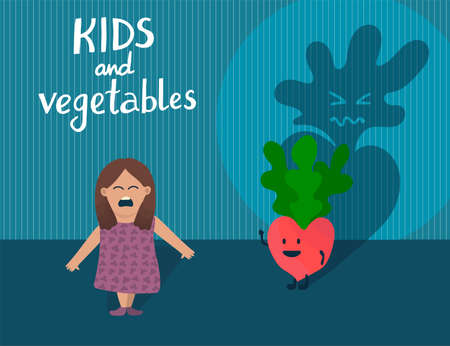 Sall kid afraid of character radish