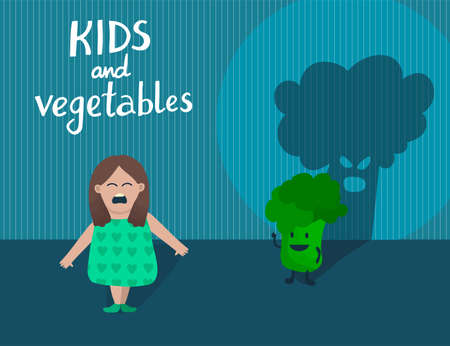 Creative concept little girl afraid of broccoli
