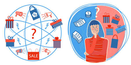 Set - girl thinking about what to present -money or gift. Round composition with dollars and gift boxes. What gift to choose. Blue and red palette. Hard choice. Hand drawn textured illustration. Vecteurs