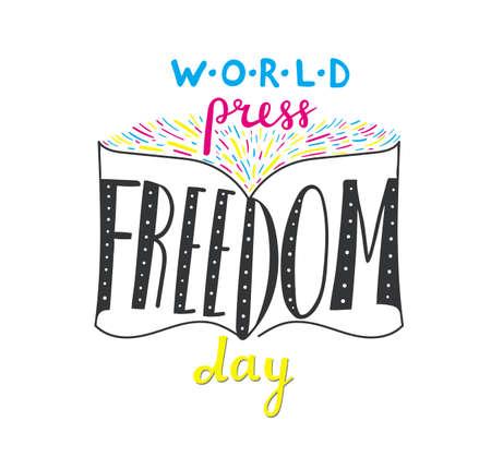 Hand drawn banner World press freedom day