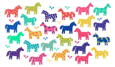 Cute colorful childish collection with horses