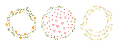 Cute template set with floral round frames