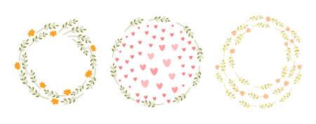 Cute template set with floral round frames Reklamní fotografie - 148276901