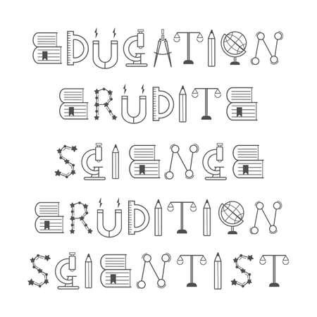 Science words line art