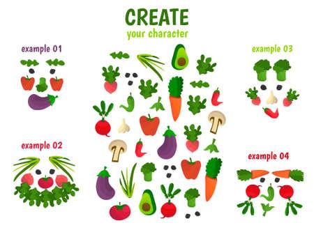 Create your character from veggies Illusztráció