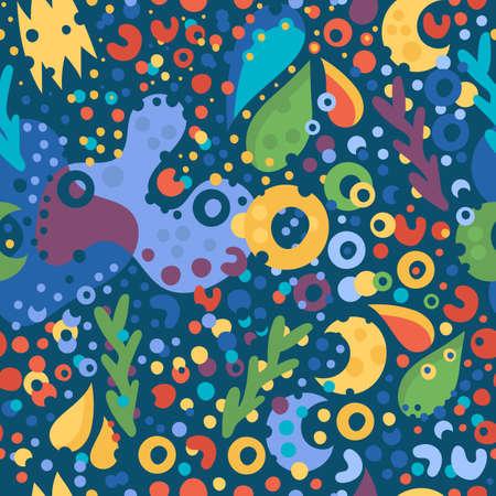 seamless pattern Coral reef underwater Ilustração