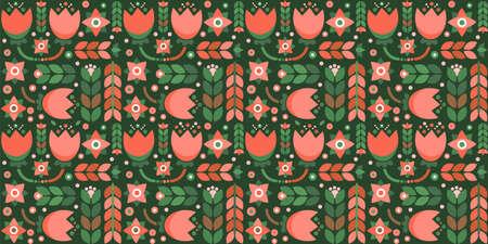 Dark long geometric floral pattern