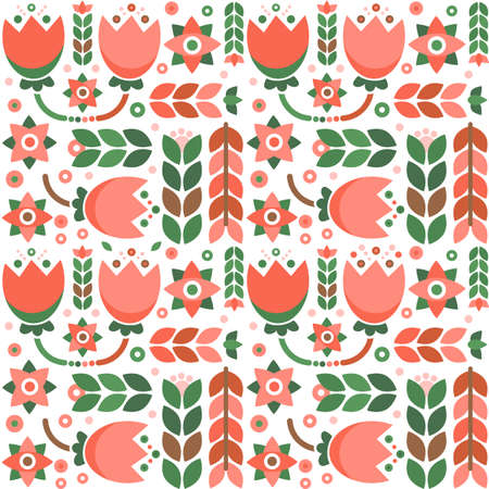 Geometric floral pattern with folklore ornament