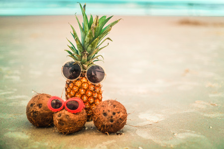 Cute Pineapple and Coconuts Wearing Sunglasses Relaxing By The Ocean
