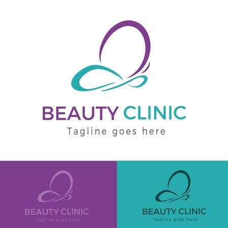 Elegante logo del marchio della clinica di bellezza farfalla viola e verde acqua