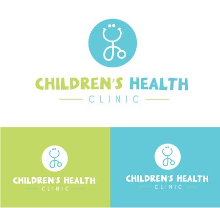 Blue Green Modern Fun Smiling Stethoscope For Pediatrician Children's Clinic Symbol Icon Ilustração
