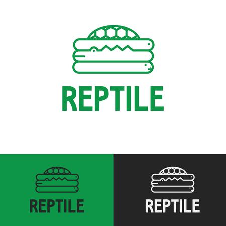 Fun Friendly Modern Minimal Green Exotic Reptile Pet Store Icon Symbol Ilustração