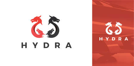 Modern Black and Red Silhouette Of Hydra Dragon Symbol Icon