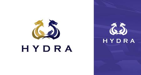 Modern Gold and Purple Silhouette Of Hydra Dragon Symbol