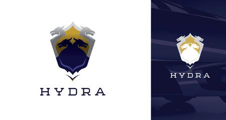 Gold and Purple Silhouette Of Hydra Dragon Shield
