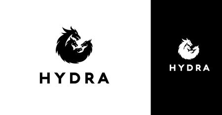 Modern Black Silhouette Of 4 Hydra Dragons Icon Ilustração