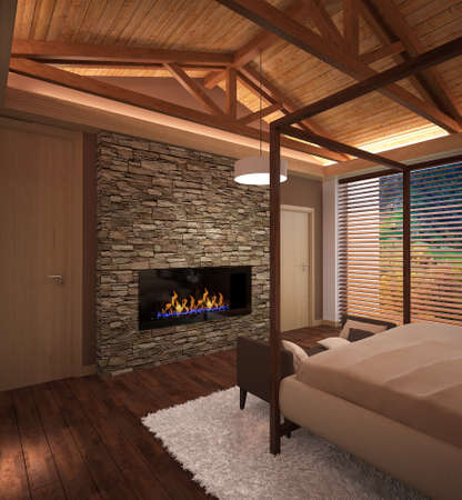 fireplace: 3d rendering of a bedroom interior design Stock Photo