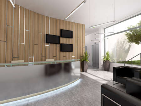 moderm: 3d rendering of a reception interior design
