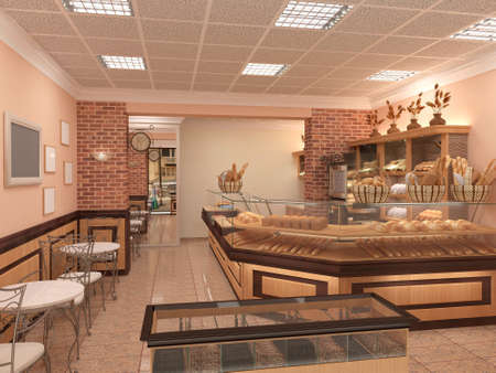 3d rendering of a bakery interior design