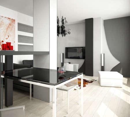 modern living room: 3d rendering of a living room interior design