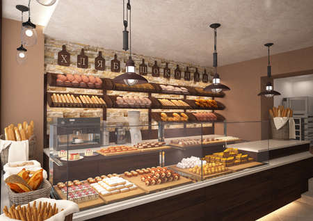3d rendering of a bakery shop interior design