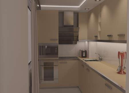 kitchen cabinets: 3d rendering of a kitchen interior design