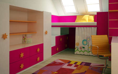3d rendering of a childrens room interior design 版權商用圖片