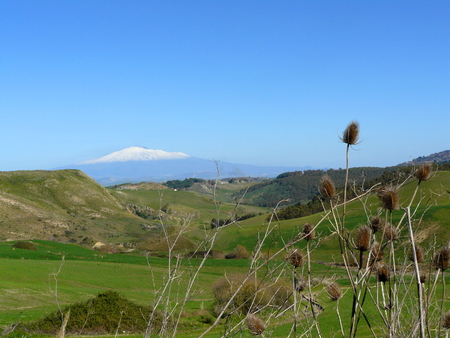 Sicilian Landscape with Etna in the Background. Stock Photo