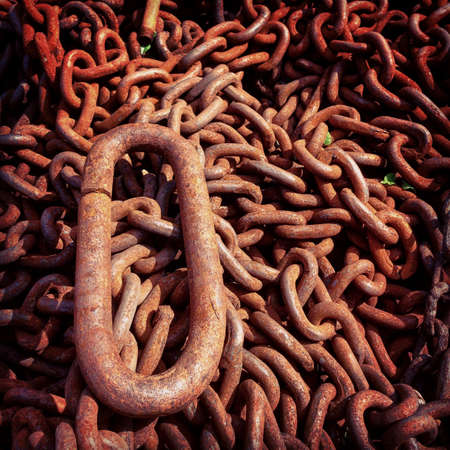 industry: A pile of old rusty chain Stock Photo
