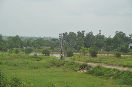 Disfunctions megaphone tower on the old border between North Vietnam and South Vietnam Stock Photo