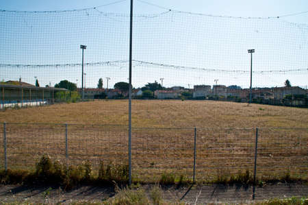 Pitch of a demolished football stadium in Valence, France.