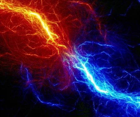 rayo electrico: Dise�o del rayo fractal abstracta Fuego y hielo