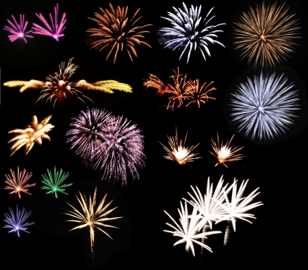 big fireworks set on black background Stock Photo - 20308731