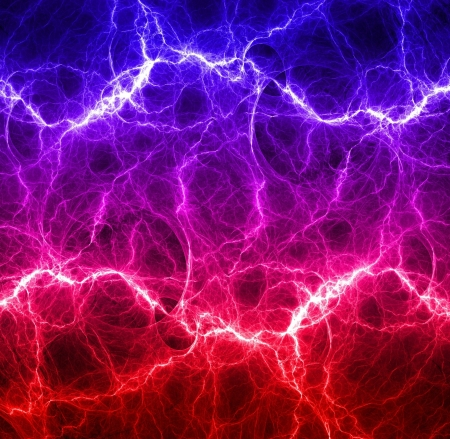 Red and blue lightning Standard-Bild