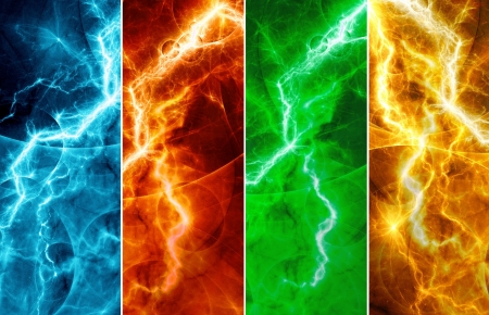 Four abstract lightnings
