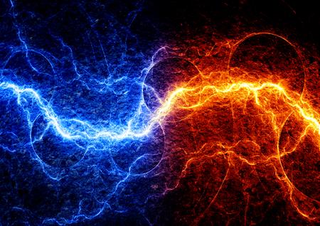 火と氷の雷の抽象的な背景