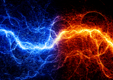 fire and ice: Fire and ice abstract lightning background Stock Photo