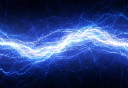 electric spark: Blue electric lightning - abstract electrical background