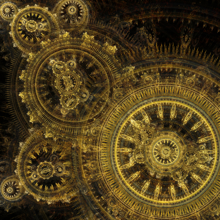 Abstract fantasy golden steampunk design