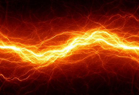 Hot fiery lightning, burning electrical background Imagens