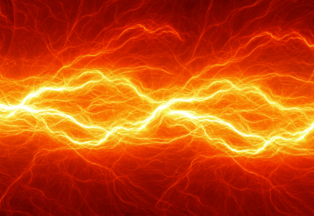 Hot fiery lightning, burning electrical background Stockfoto