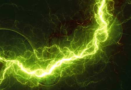 lightning strike: Fantasy green lightning, abstract fractal background Stock Photo