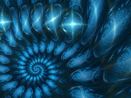 Fractal background, blue snail abstract