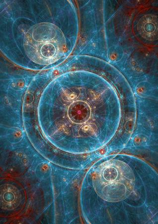 Blue abstract fraktalen Kreis Hintergrund Standard-Bild - 34180808