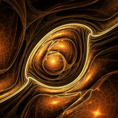 Orange fractal in the shape of an dragon eye Standard-Bild