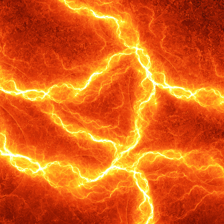 orange industry: Hot fiery lightning, burning electrical background Stock Photo