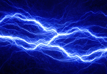 Blue electric lighting, abstract electrical background Standard-Bild