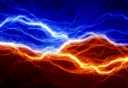 cold fusion: Fire and ice abstract lightning background Stock Photo